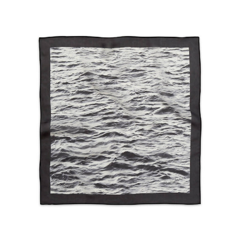 French Silk Scarf in Black & White Sea