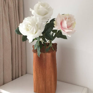 Tall basket/vase with coconut fibre trim