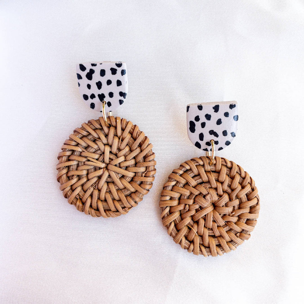 Rattan and Leopard Print Polymer Clay Earrings
