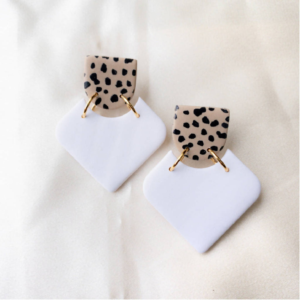 White Leopards Polymer Clay Earrings