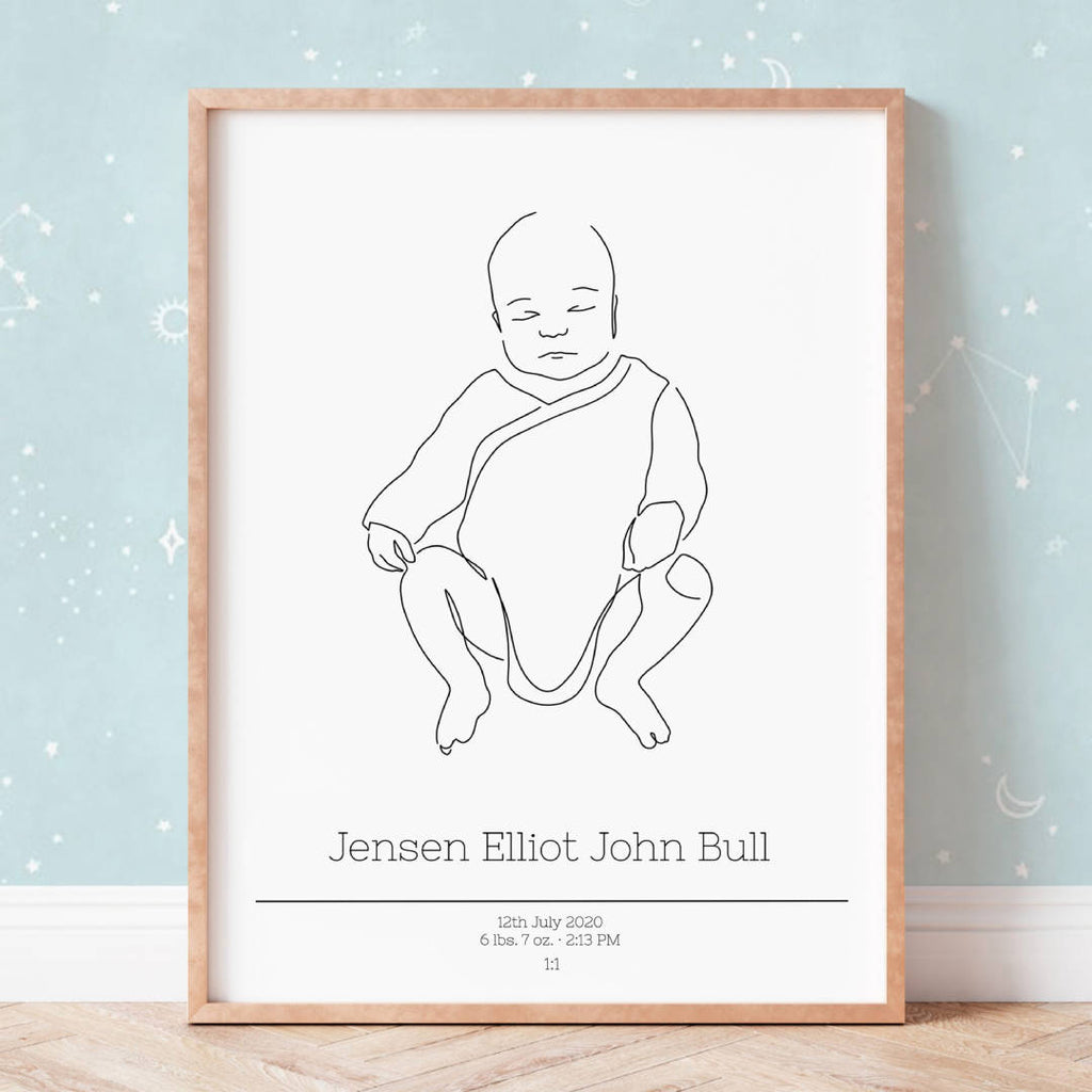 Custom birth poster from your baby photo | Scale 1:1