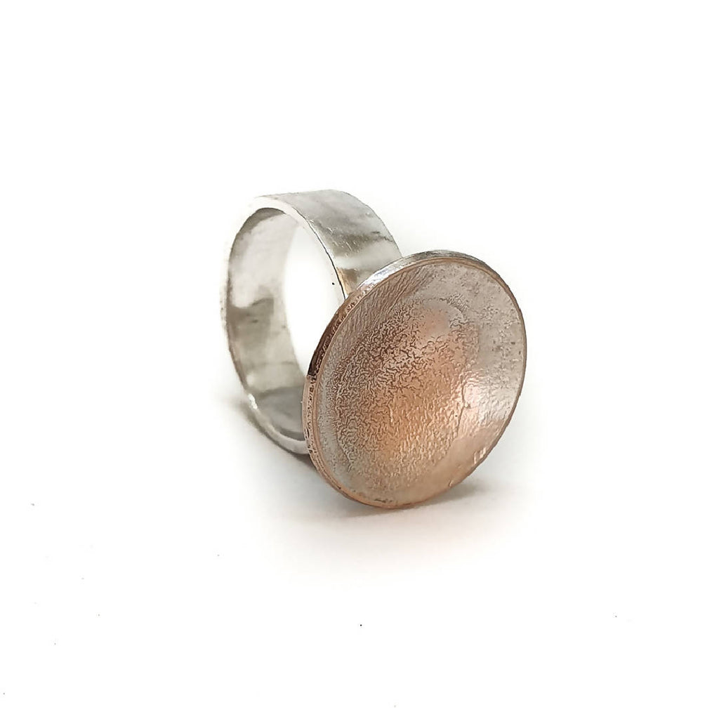 Sterling silver and shibuichi ring
