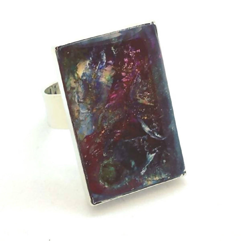 Magenta Crater Large Art Ring