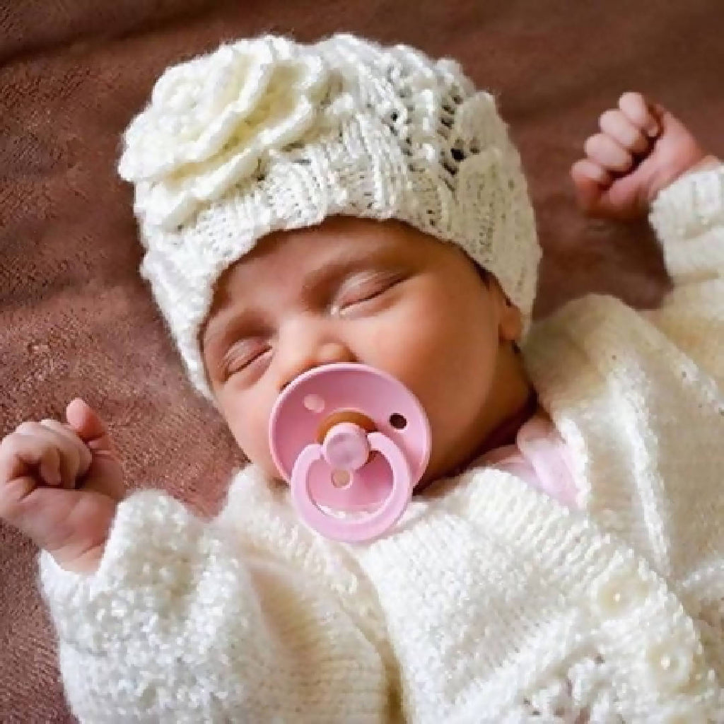 NEWBORN 3pce Set Hand Knitted with flower beanie 100% WOOL