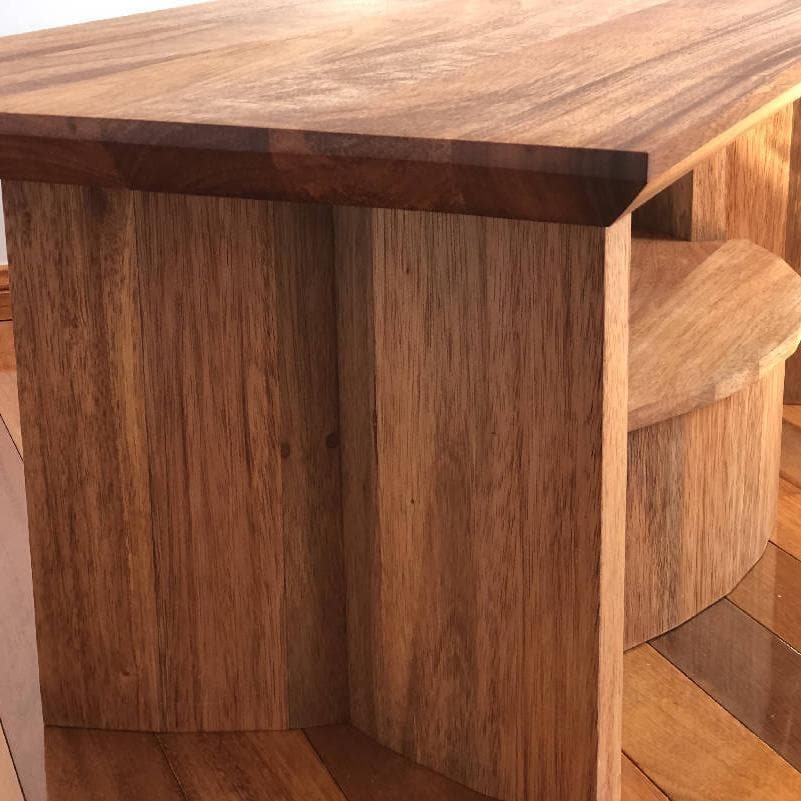 Handmade Wooden Coffee Table with Storage Shelf