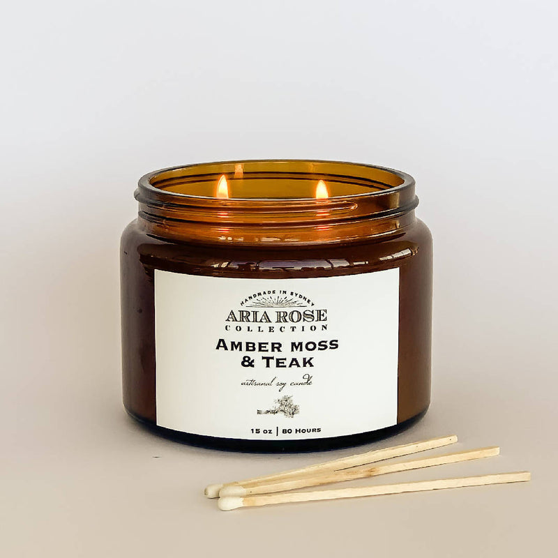 Amber Moss & Teak Luxury Scented Soy Candle - 15 oz