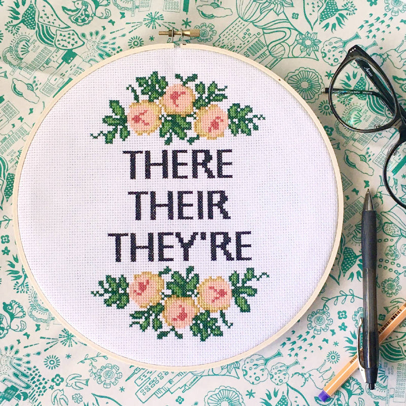 There Go The Grammar Nerds Cross Stitch Kit