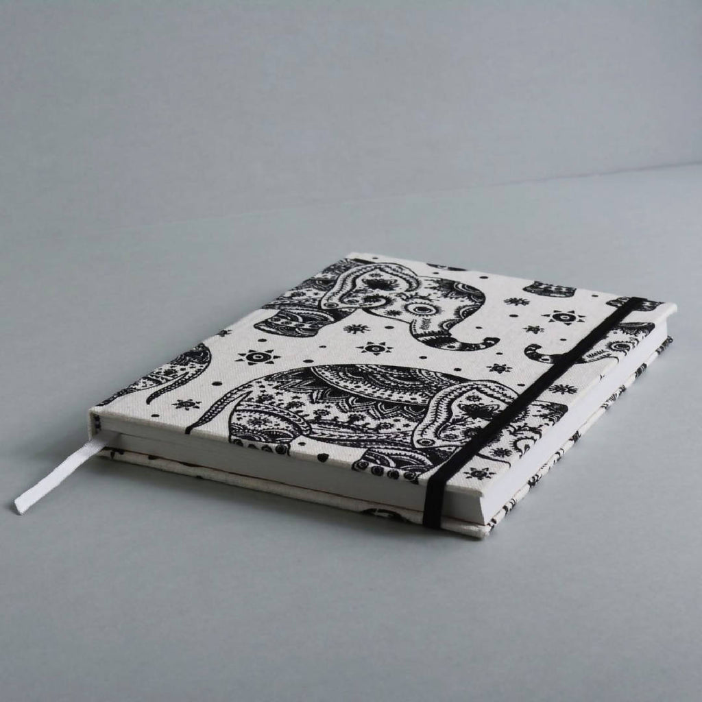 Boho Elephants – Hardcover Animal Print Notebook – A5 Lined 100% Recycled Paper