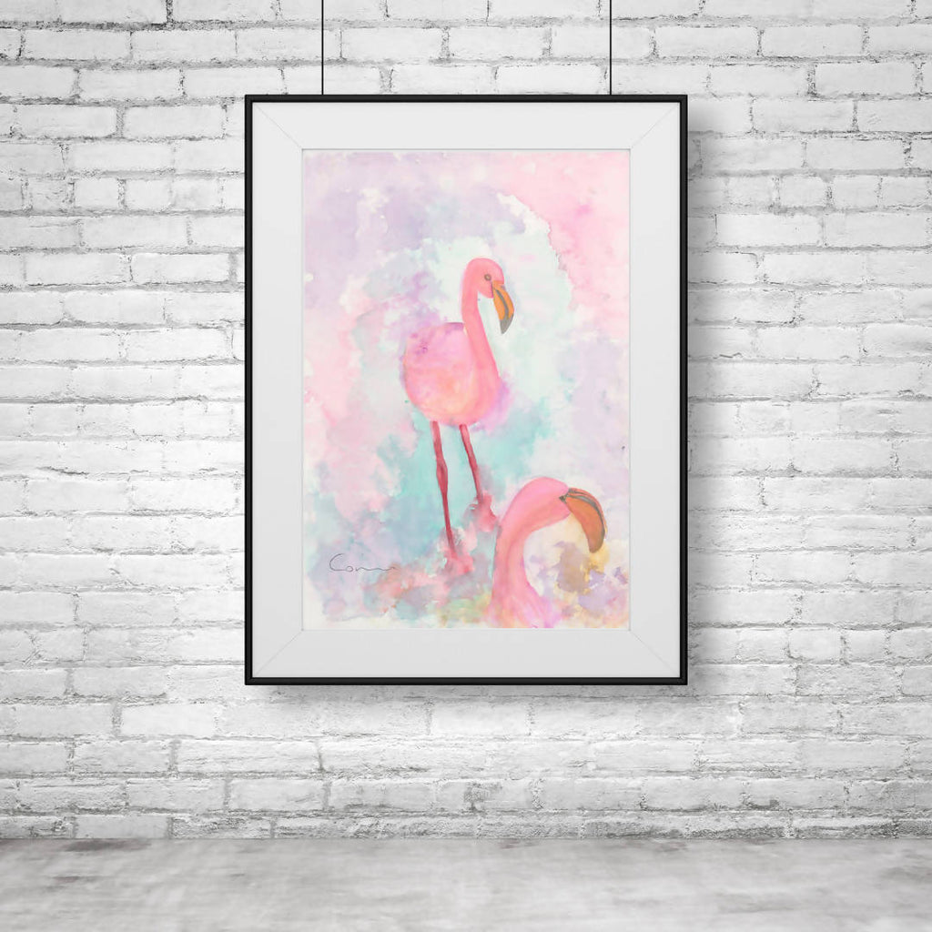 Flamingo Pair Watercolour - A4