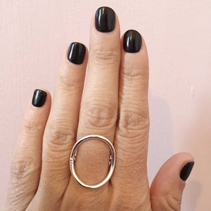 Neptune - Sterling Silver Large Open Oval Ring pm Jewellery Handmade