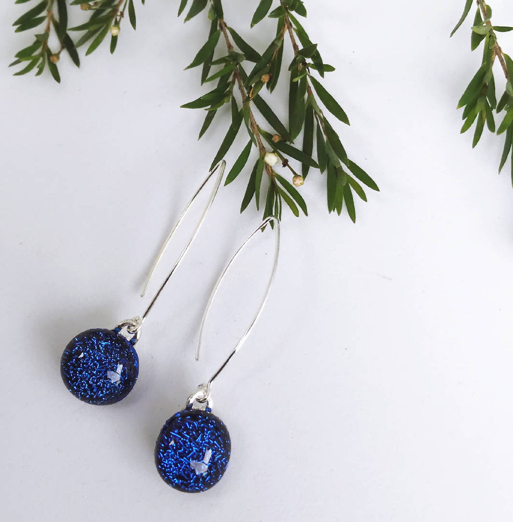 Blue Sparkle Fused Glass Drop Earrings