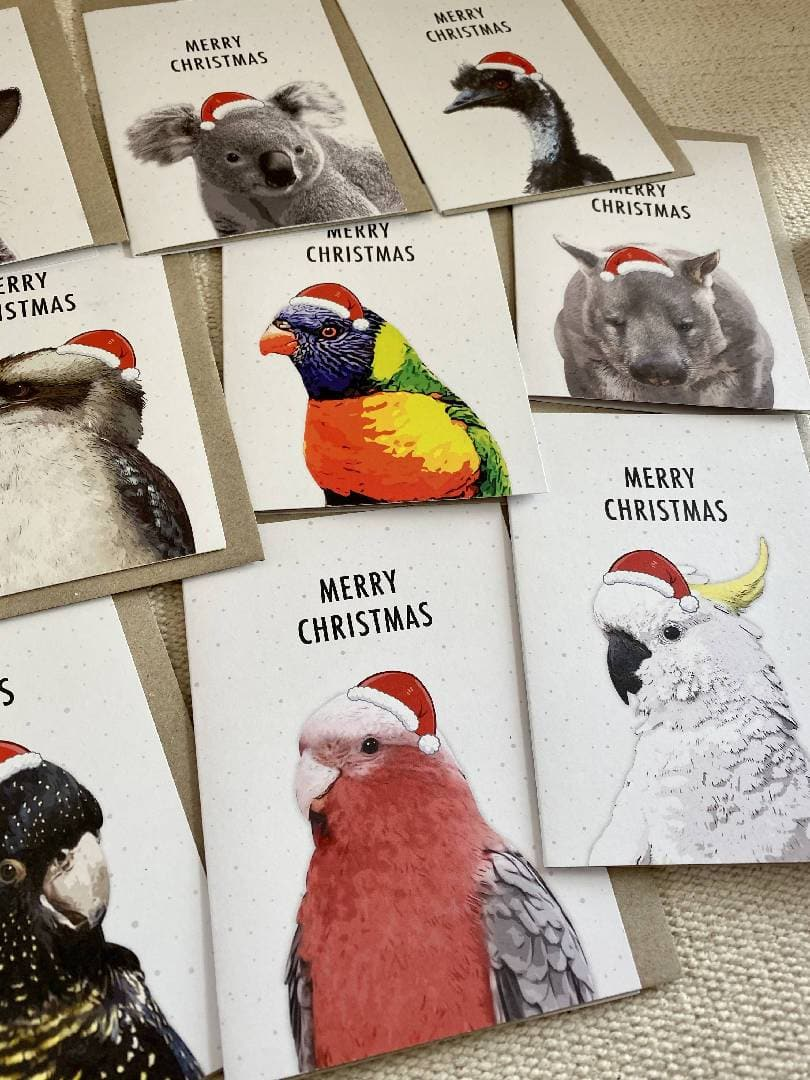 Pack of 12 Mixed Australian Wildlife Animal Christmas Cards Plus Bonus 4 Gift Tags