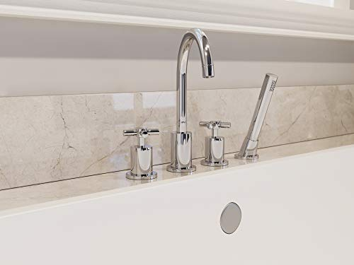 Ancona Prima 4 Double Handle Bathroom Tub Faucet With Shower Wand In C Directnine United Arab Emirates