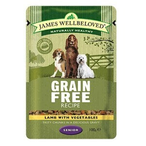 James Wellbeloved Dog Senior Lamb GF Pouches 12x100g  - Outer
