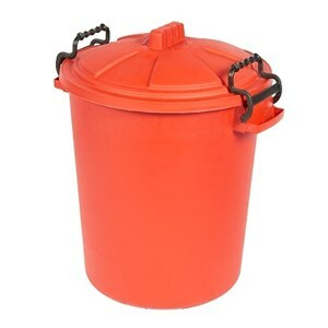 Heavy Duty Dustbin & Lid with Clip Red - 50 L