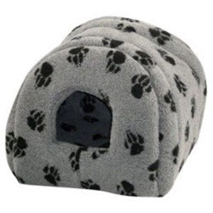 DD Cat Fleece Grey Black Paw Igloo - Single