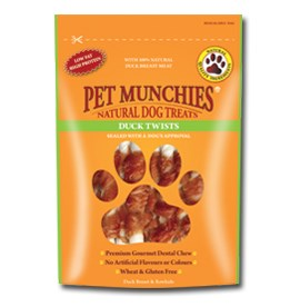 Pet Munchies Dog Treat Duck Twist 8x80g