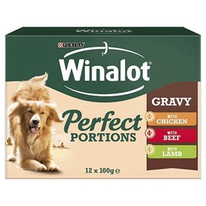 Winalot Perfect Portions - Mix ed - Chunks in Gravey 4x 12x 100g