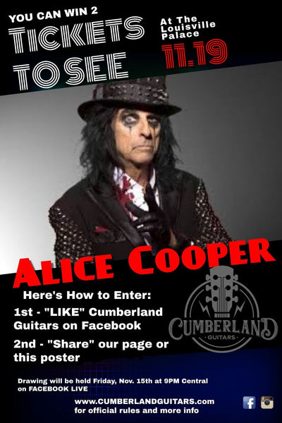 Alice Cooper Tickets Giveaway at Cumberland Guitars
