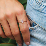 Oval Rose Quartz Silver Ring
