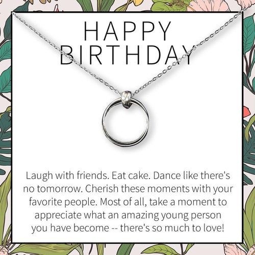 Happy Birthday Necklace- Stacked Circles