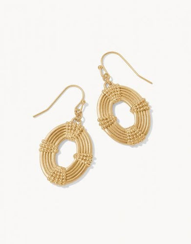 Gold Oval Medallion Earrings
