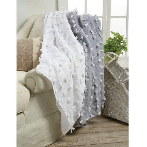 WHITE DECORATIVE BLANKET - The Silver Dahlia