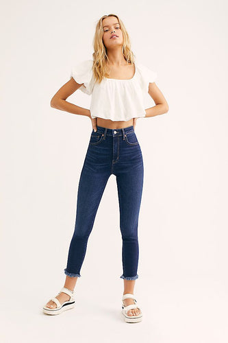 Raw High-Rise Jeggings in Indigo