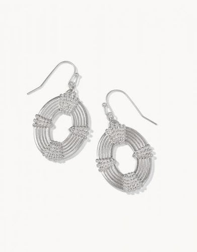 Silver Oval Medallion Earrings
