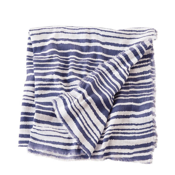 Striped Print Blue Scarf