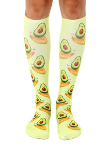 Knee Length Socks Surfing Avocado - The Silver Dahlia