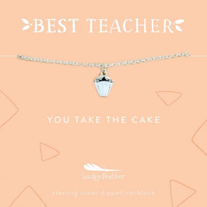 Best Teacher Cupcake Necklace