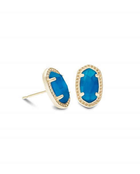 Emery Stud Earrings Gold Blue Agate