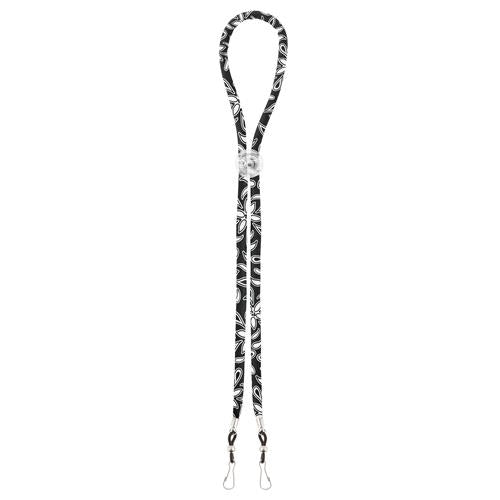 Mask Lanyard Black & White Floral