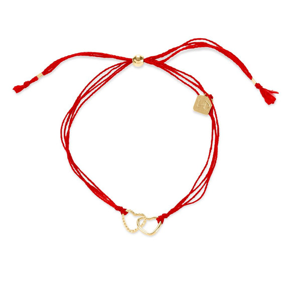 Red Cord with Silver Hearts