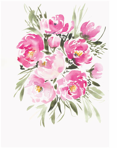Simple Watercolor Pink Peonies Floral Art Print