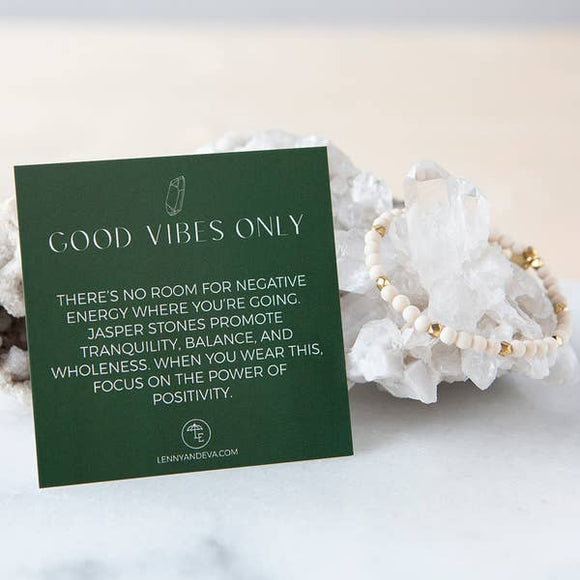 Good Vibes Only Bracelet- Fossil Jasper