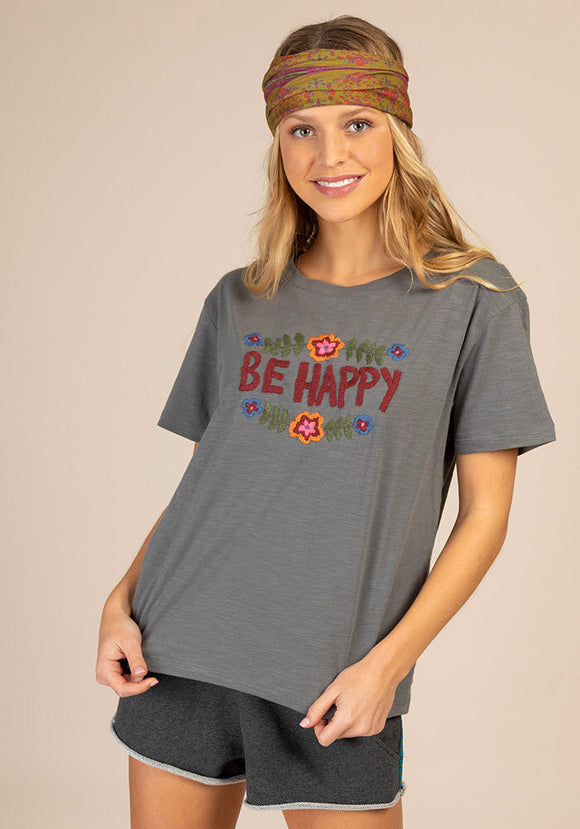 Be Happy Hand Embroidered Tee