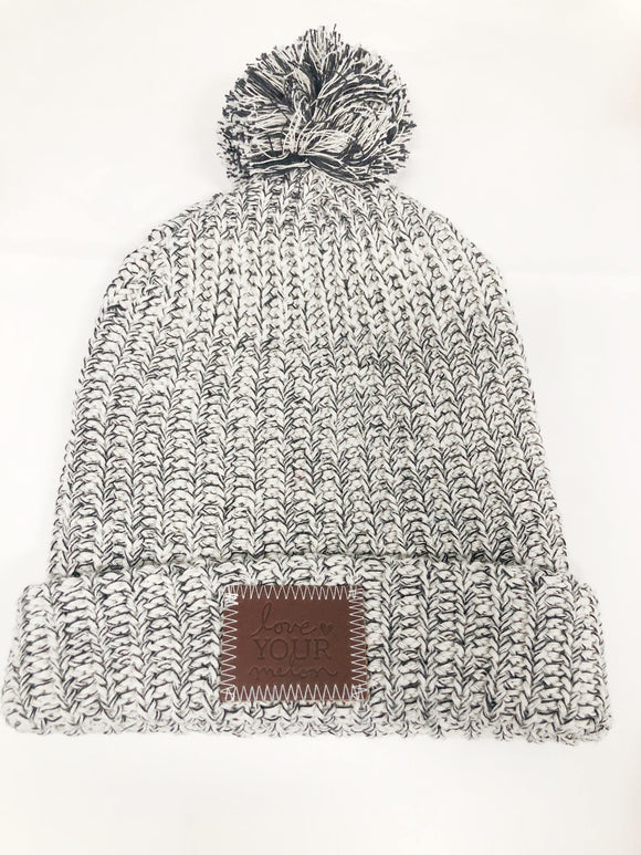 Knit Pom Beanie- Black Speckle