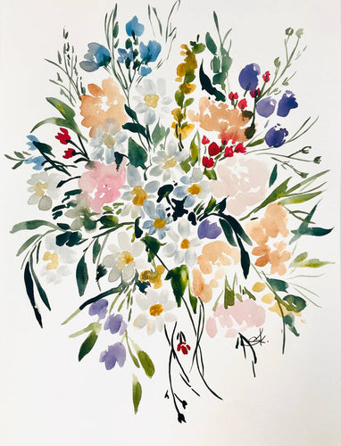 Posey Print 11x14 Watercolor Print, Bright Floral Home Decor