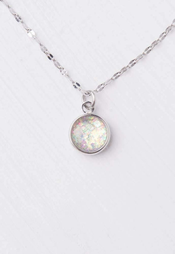 Ena Silver & White Opal Necklace