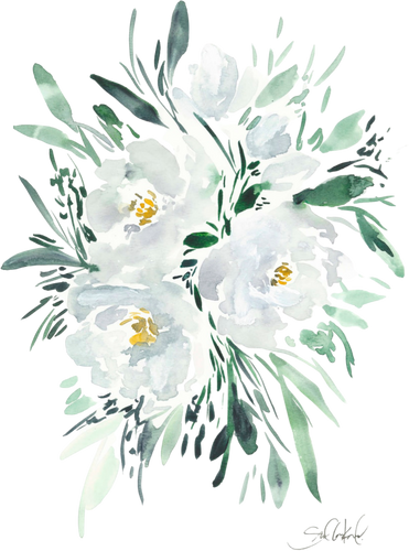 Watercolor White Peony 11x14 in Art Print, Painting, Neutral