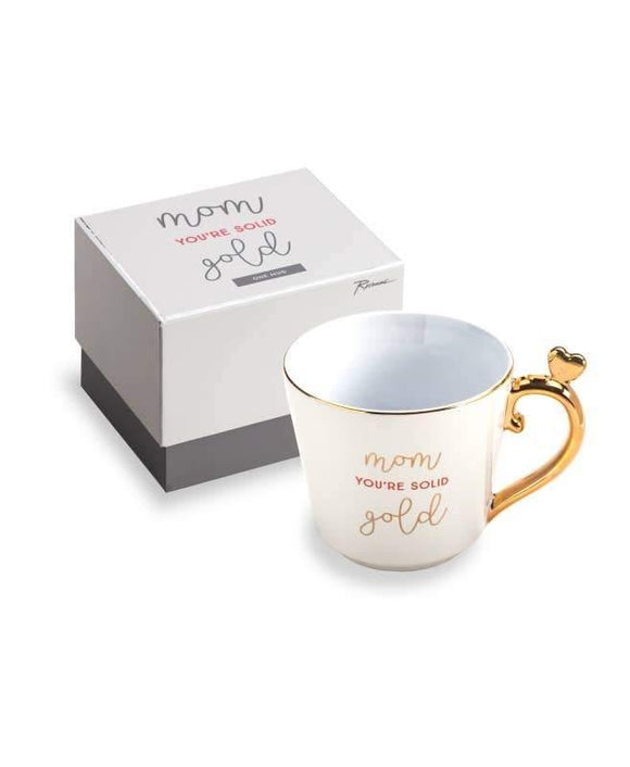 Love You More Mug Mom You're Solid Gold W/heart Ornament