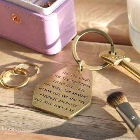 Precious Daughter Antiqued Brass Keyring