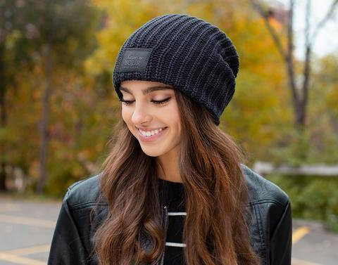 Beanie - Navy With Black Patch