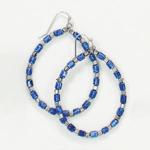Blue and Silver Beaded Hoops