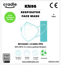 Load image into Gallery viewer, KN95 Respirator Face Mask - 5 Pack