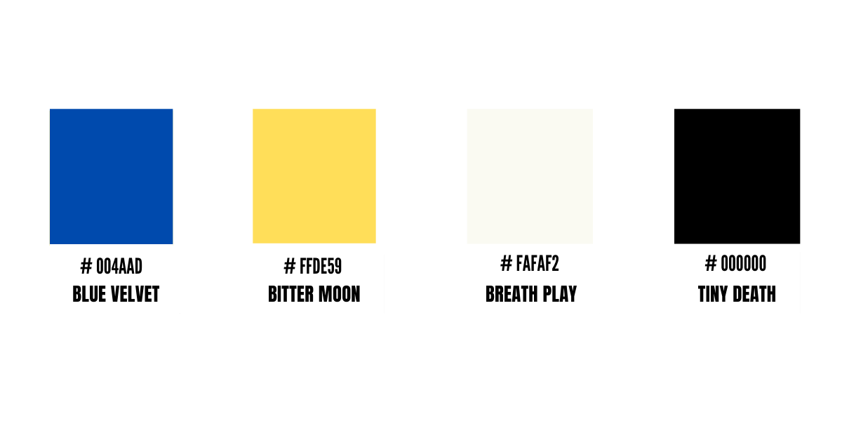 """Four color swatches (one blue one yellow, one light grey, and one black) with names as follows: """"Blue Velvet"""" """"Bitter Moon"""" """"Breath Play"""" and """"Tiny Death""""."""