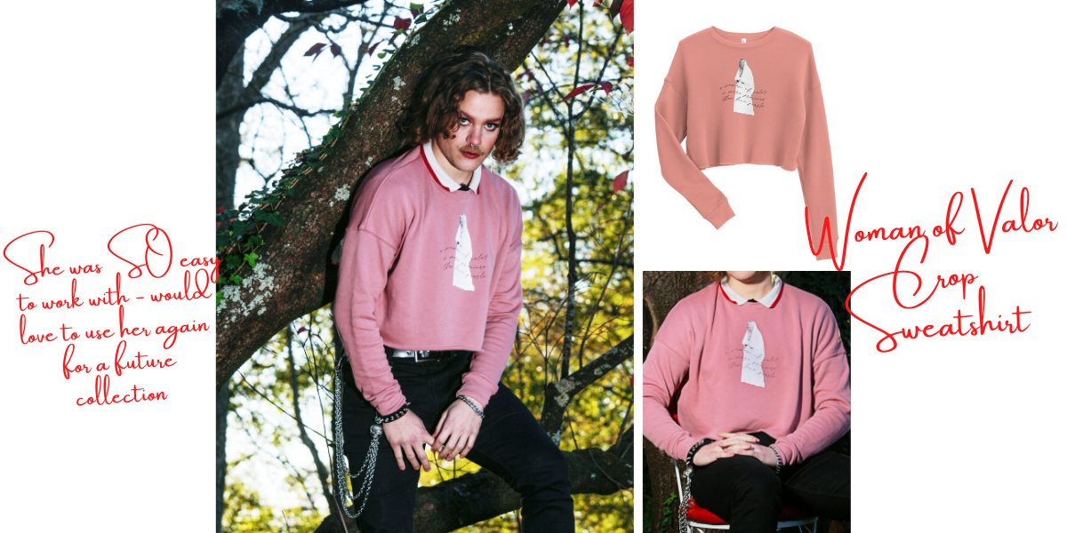 "3 images of an alternative model standing and posing in a tree. Captions for this image: ""she was SO easy to work with - would love to use her again for a future collection"" and ""woman of valor crop sweatshirt."""