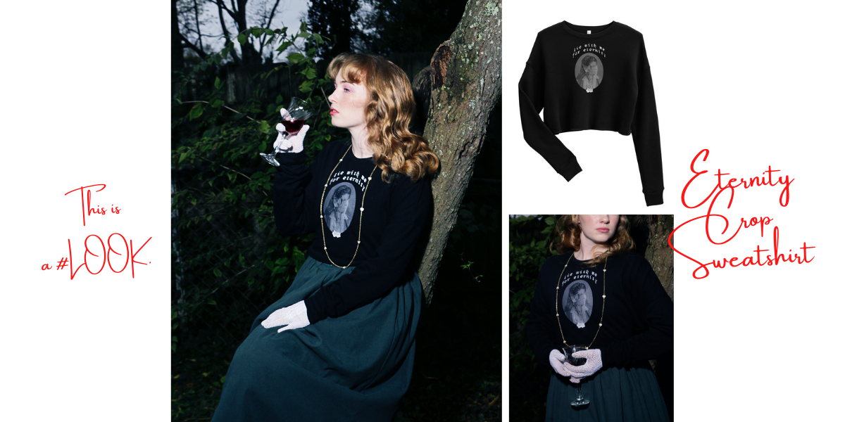 "3 images of blonde female model wearing white lace gloves, a dark green skirt, and the Eternity Crop Sweatshirt, posing on a tree while holding a glass of wine to her lips. Captions for this image: ""this is a #LOOK"" and ""eternity crop sweatshirt."""